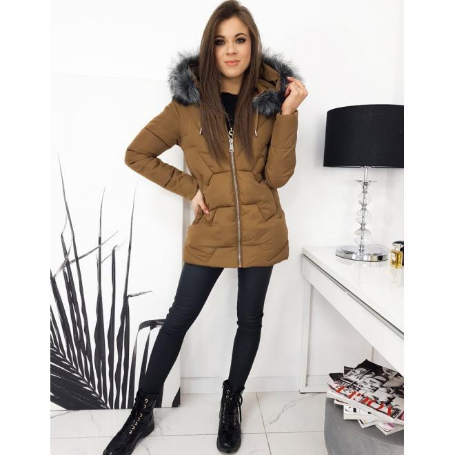 Hnědá prošívaná bunda na zimu pro dámy
