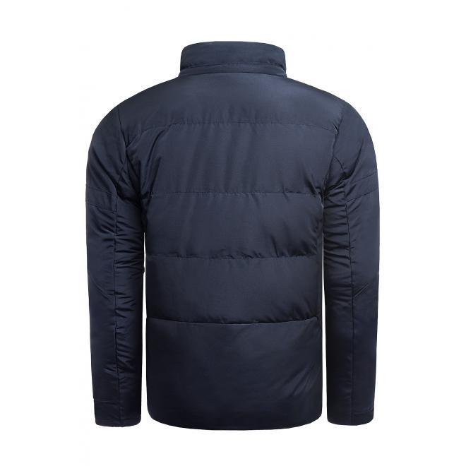 Pánská prošívaná bunda na zimu v tmavě modré barvě