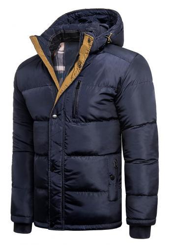 Pánská zimní bunda s kapucí v modré barvě
