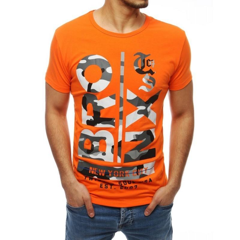 Pánské módní tričko s potiskem v oranžové barvě
