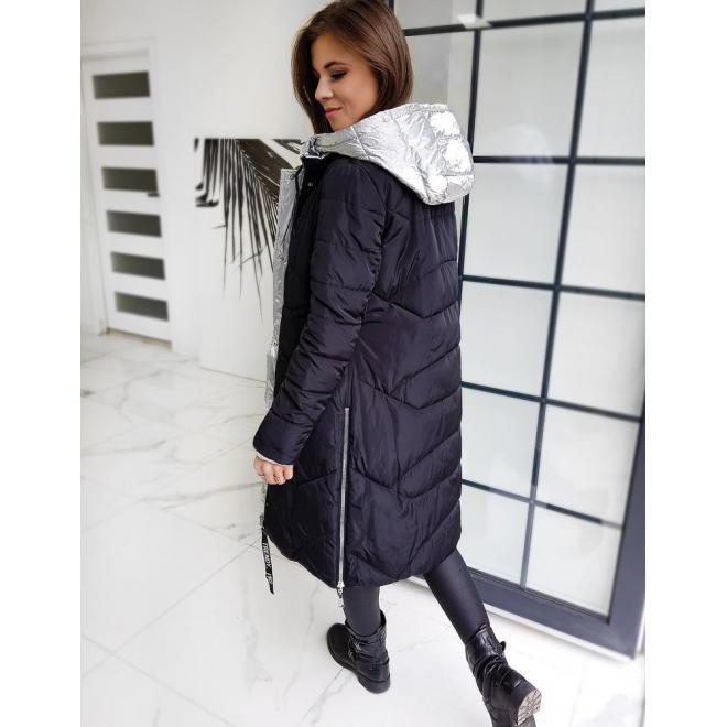 Dlouhá oboustranná dámská bunda stříbrné barvy s kapucí