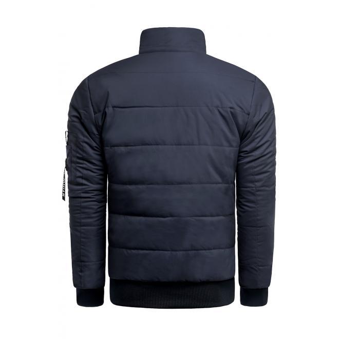 Zimní pánská bunda tmavě modré barvy s prošíváním