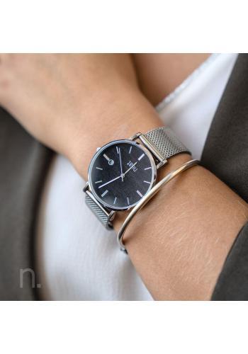 Dámské módní hodinky s kovovým páskem ve stříbrno-černé barvě