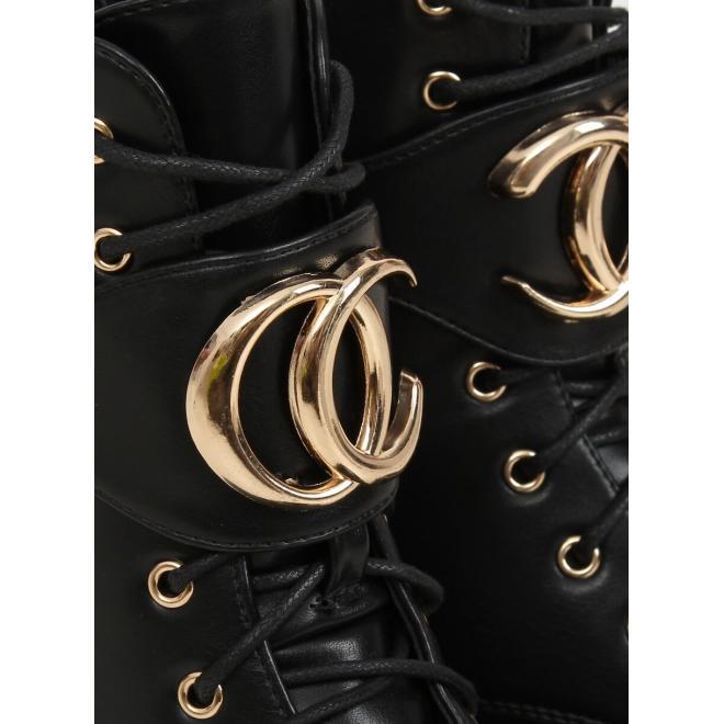 Stylové dámské Workery černé barvy se zlatými ozdobami