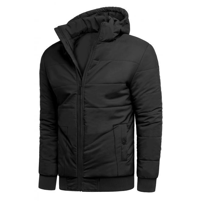 Zimní pánská bunda černé barvy s prošíváním