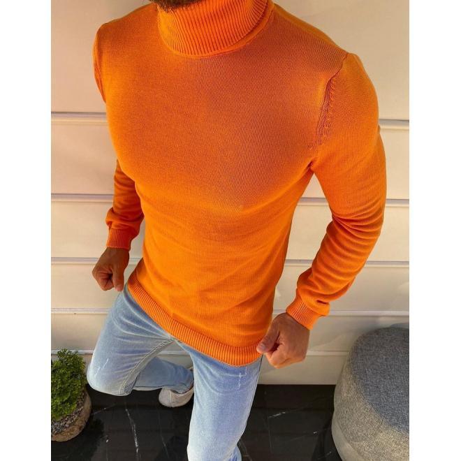 Pánský módní rolák v oranžové barvě