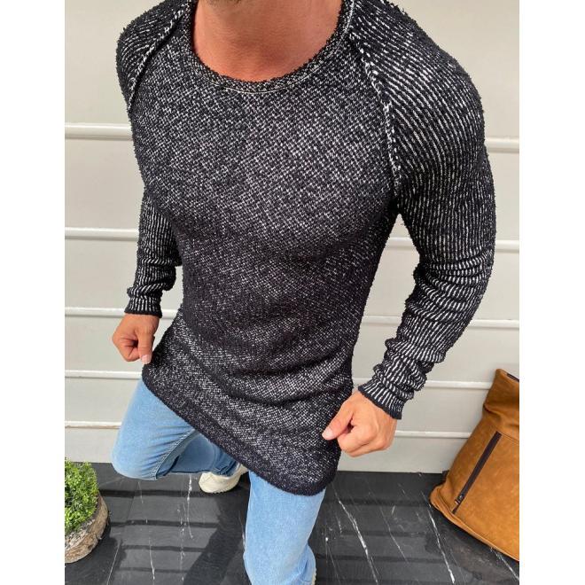 Černý stylový svetr s kulatým výstřihem pro pány