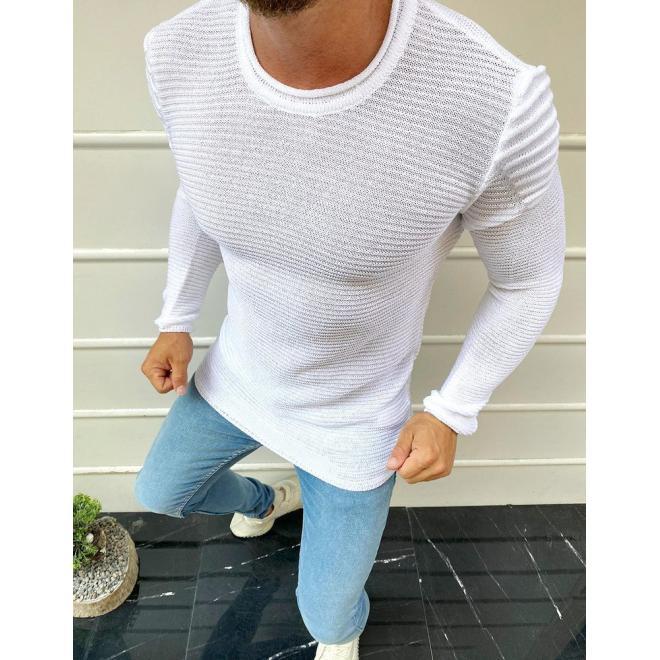 Pánský módní svetr s kulatým výstřihem v bílé barvě
