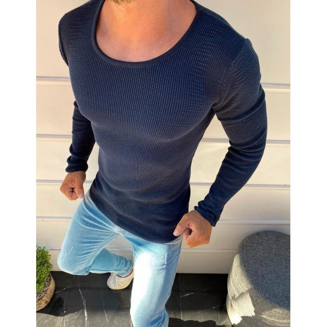 Tmavě modrý stylový svetr s kulatým výstřihem pro pány