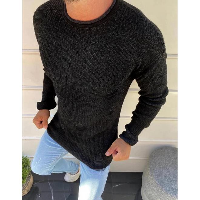 Módní pánský svetr černé barvy s dírami