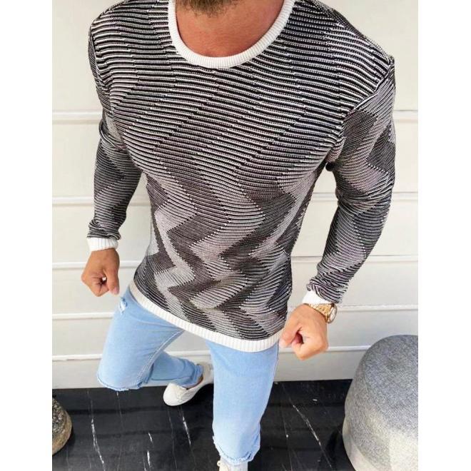 Vzorovaný pánský svetr bílé barvy s kulatým výstřihem