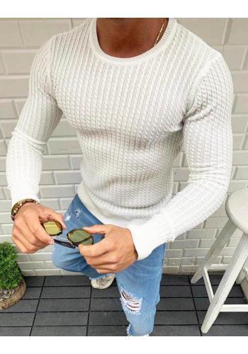 Bílý vzorovaný svetr s kulatým výstřihem pro pány