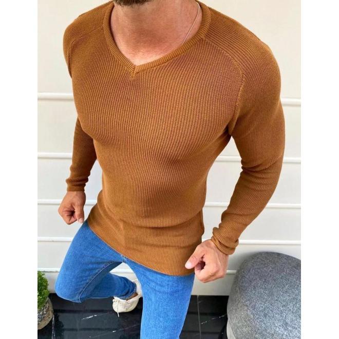 Pánský klasický svetr s véčkovým výstřihem v hnědé barvě