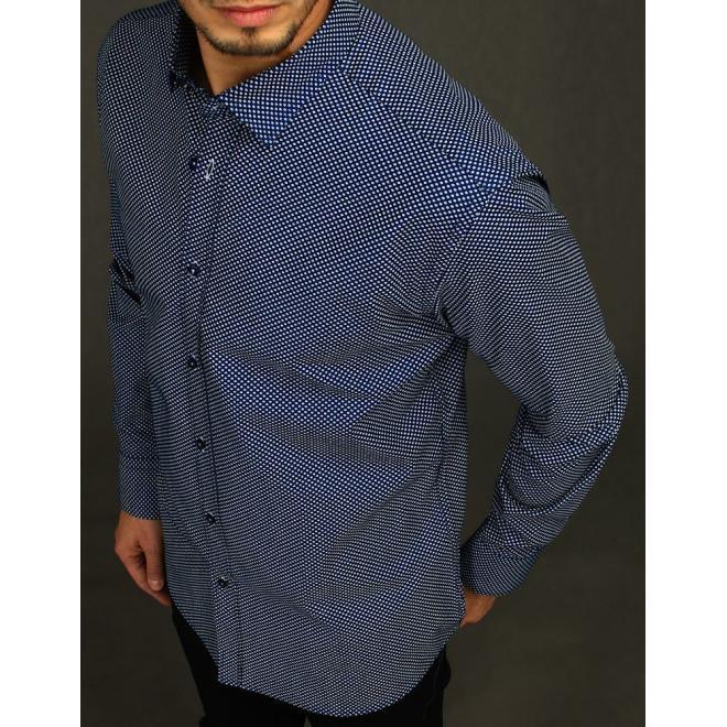 Bavlněná pánská košile tmavě modré barvy se vzorem
