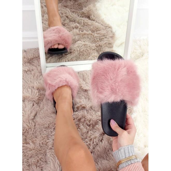 Dámské módní pantofle s kožešinou v růžové barvě