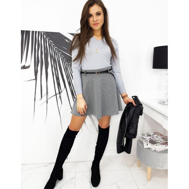 Dámská mini sukně s kostkovaným vzorem v černo-bílé barvě