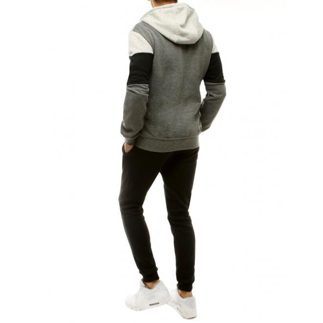 Tepláková pánská souprava šedo-černé barvy s kontrastními prvky