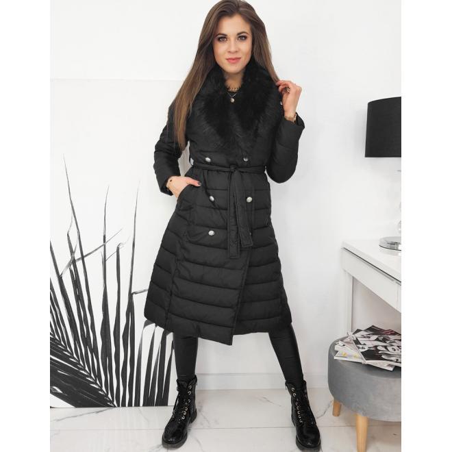 Prošívaná dámská bunda černé barvy s kožešinou na límci