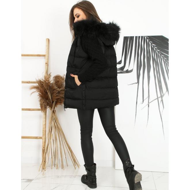 Prošívaná dámská vesta černé barvy s odepínací kapucí