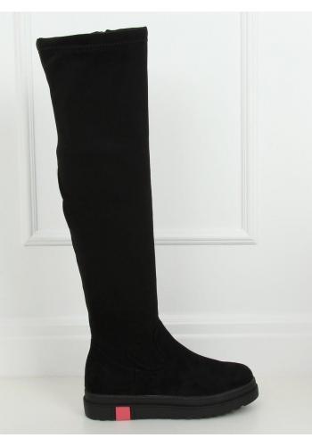 Semišové dámské kozačky nad kolena černé barvy s tlustou podrážkou v akci