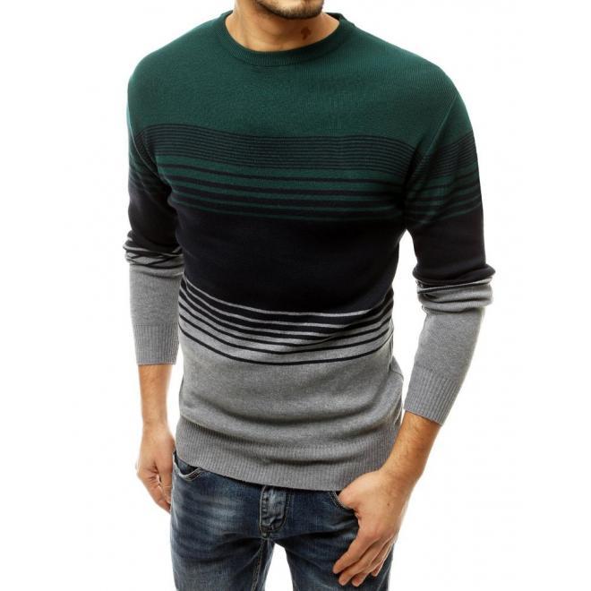 Módní pánský svetr zeleno-šedé barvy s proužky