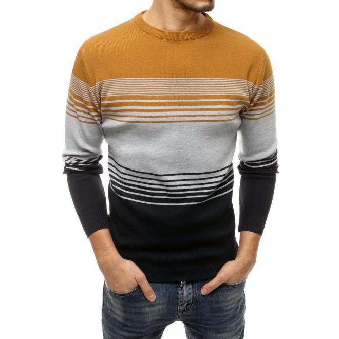 Pánský módní svetr s proužky v hnědo-černé barvě