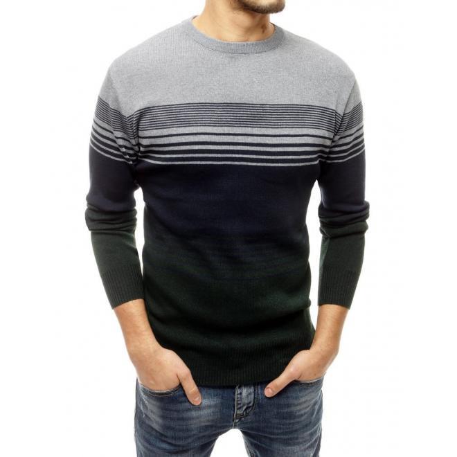 Šedo-zelený módní svetr s proužky pro pány
