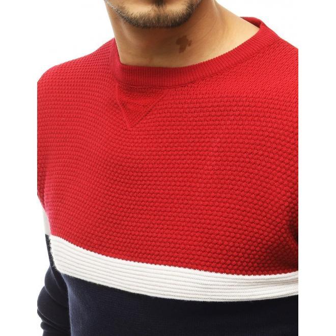 Pánský stylový svetr s kontrastními prvky v červené barvě