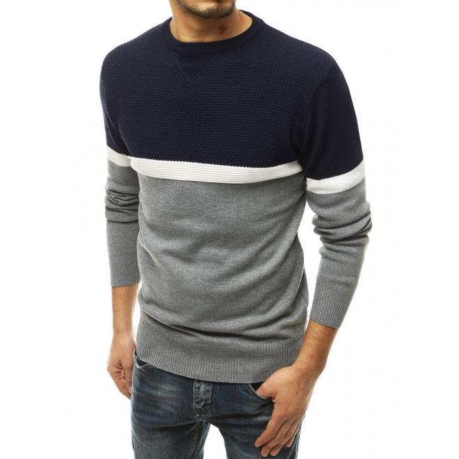 Tmavě modrý stylový svetr s kontrastními prvky pro pány