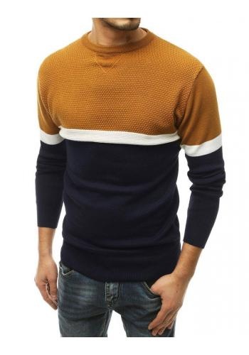 Stylový pánský svetr hnědé barvy s kontrastními prvky