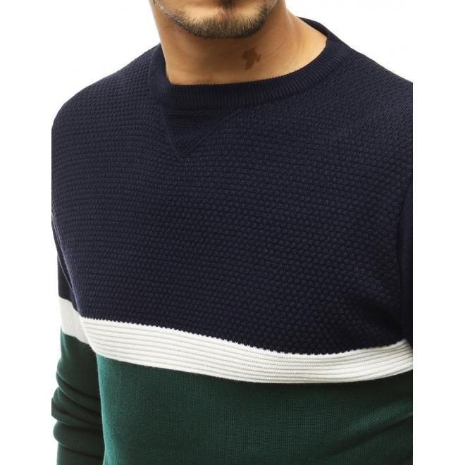 Pánský stylový svetr s kontrastními prvky v zelené barvě
