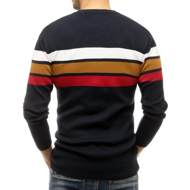 Tmavě modrý klasický svetr s kontrastními pruhy pro pány