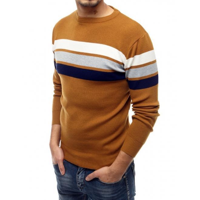 Pánský klasický svetr s kontrastními pruhy v hnědé barvě