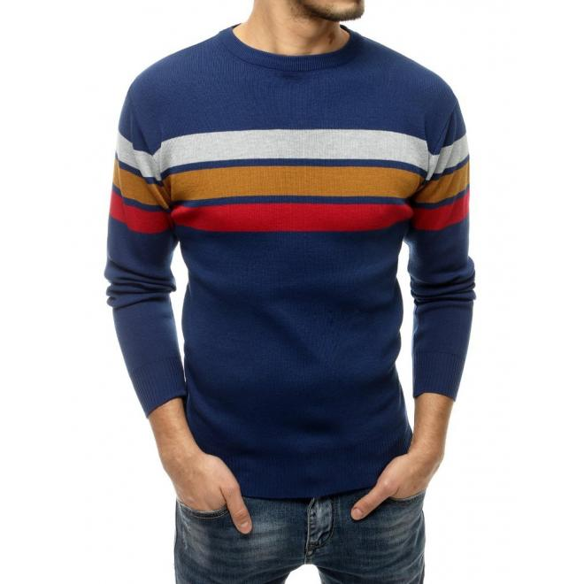 Modrý klasický svetr s kontrastními pruhy pro pány