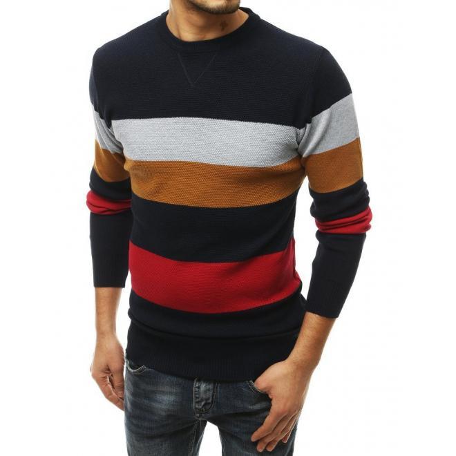 Módní pánský svetr s kontrastními pruhy v tmavě modré barvě