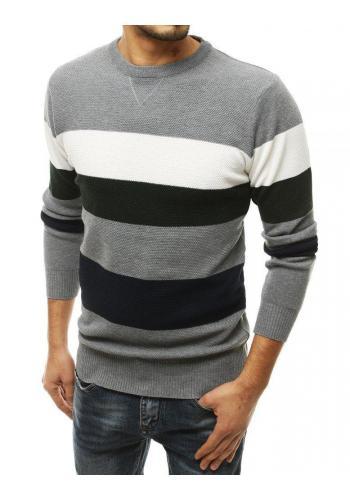 Pánský módní svetr s kontrastními pruhy v světle šedé barvě