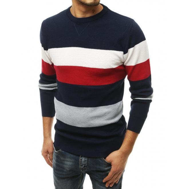 Tmavě modrý módní svetr s kontrastními pruhy pro pány