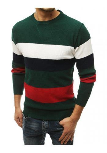 Módní pánský svetr zelené barvy s kontrastními pruhy