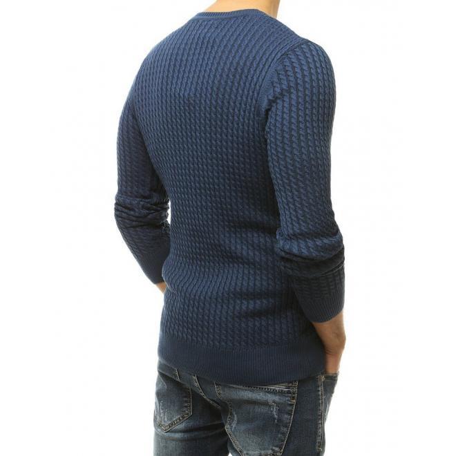 Modrý vzorovaný pánský svetr s kulatým výstřihem pro pány