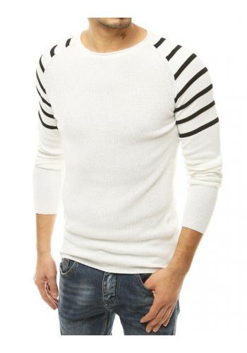 Pánský stylový svetr s pruhovanými rukávy v bílé barvě