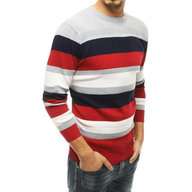 Světle šedý módní svetr s kontrastními pruhy pro pány