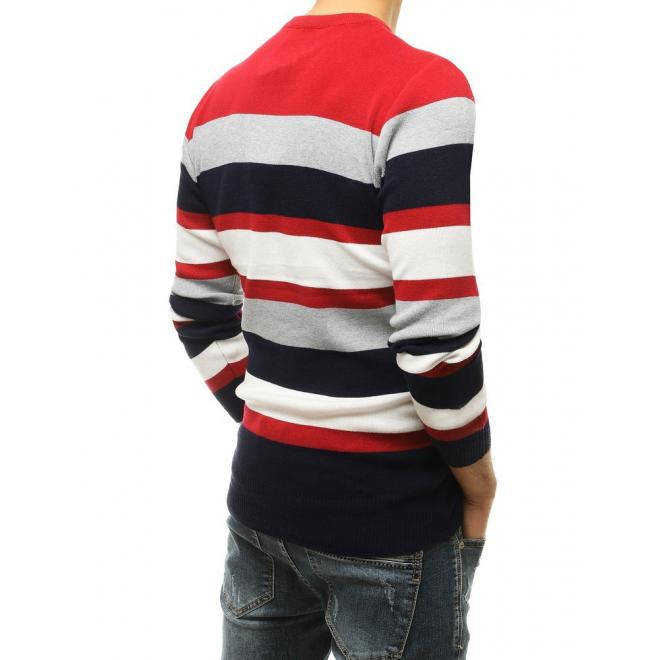 Módní pánský svetr červené barvy s kontrastními pruhy