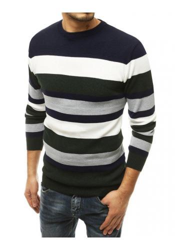 Pánské módní svetry s kontrastními pruhy v tmavě modré barvě