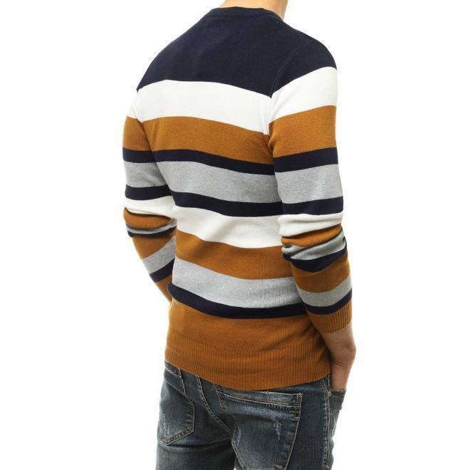 Hnědý módní svetr s kontrastními pruhy pro pány