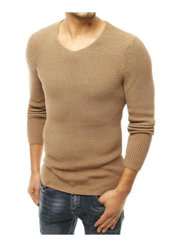Klasický pánský svetr hnědé barvy s kulatým výstřihem