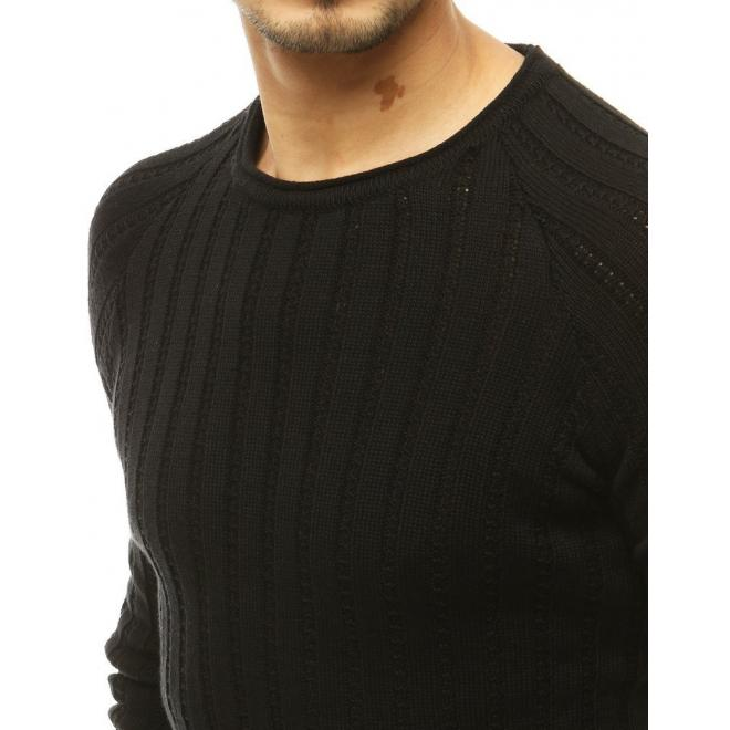 Pánské klasické svetry s kulatým výstřihem v černé barvě