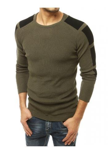 Kaki módní svetr s kontrastními prvky pro pány