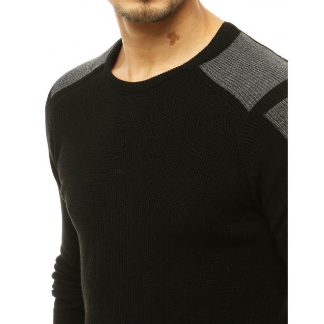 Módní pánský svetr černé barvy s kontrastními prvky