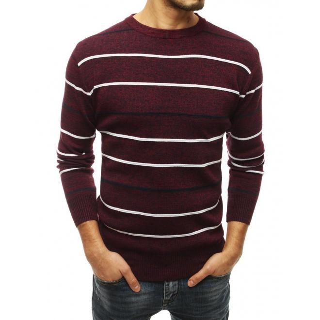 Bordový proužkovaný svetr s kulatým výstřihem pro pány