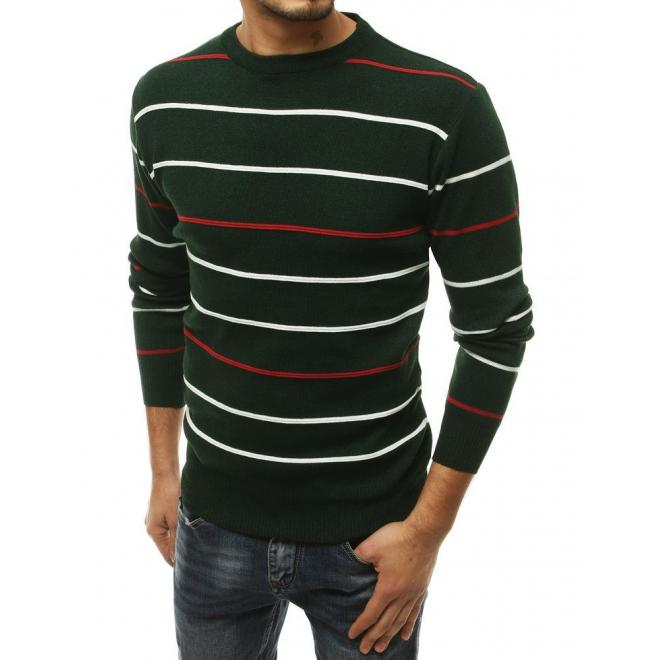 Proužkovaný pánský svetr zelené barvy s kulatým výstřihem